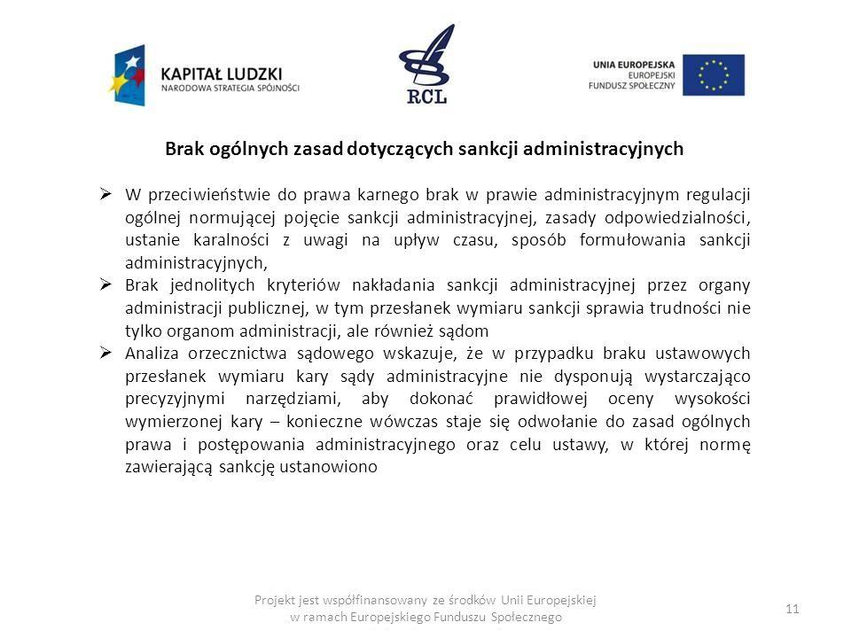 Brak ogólnych zasad dotyczących sankcji administracyjnych