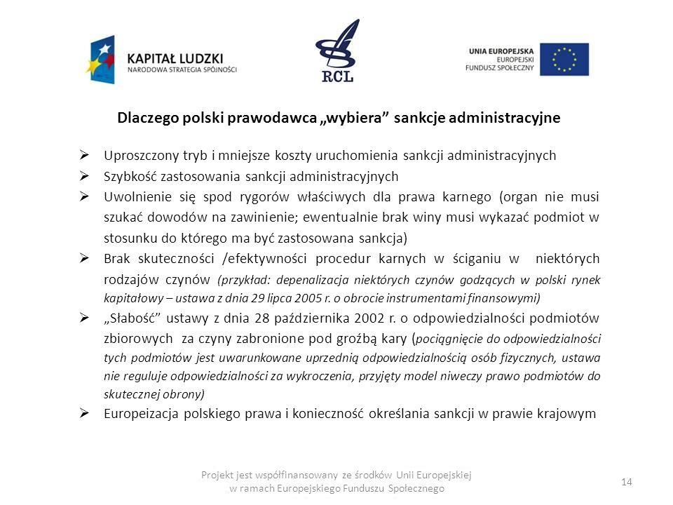 """Dlaczego polski prawodawca """"wybiera sankcje administracyjne"""