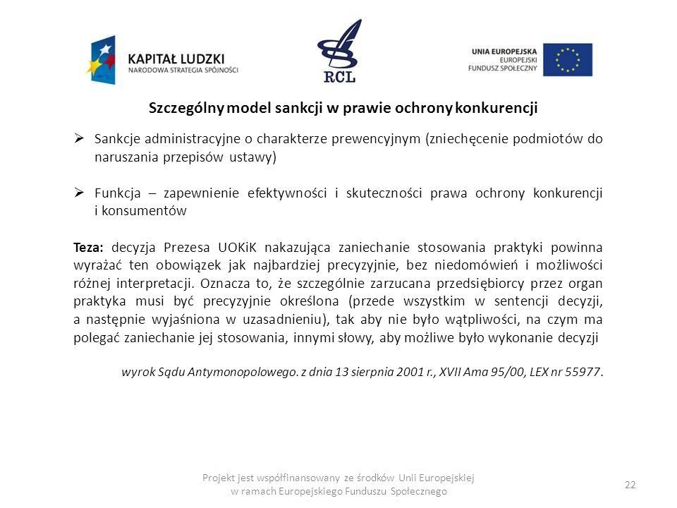 Szczególny model sankcji w prawie ochrony konkurencji