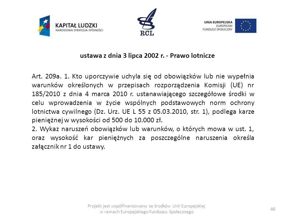ustawa z dnia 3 lipca 2002 r. - Prawo lotnicze