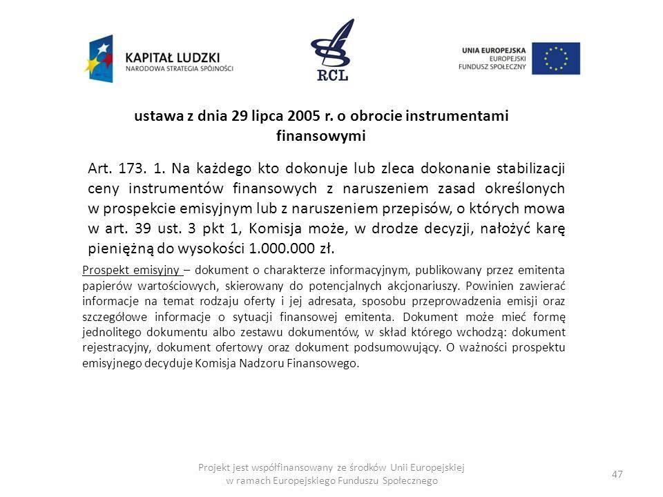ustawa z dnia 29 lipca 2005 r. o obrocie instrumentami finansowymi
