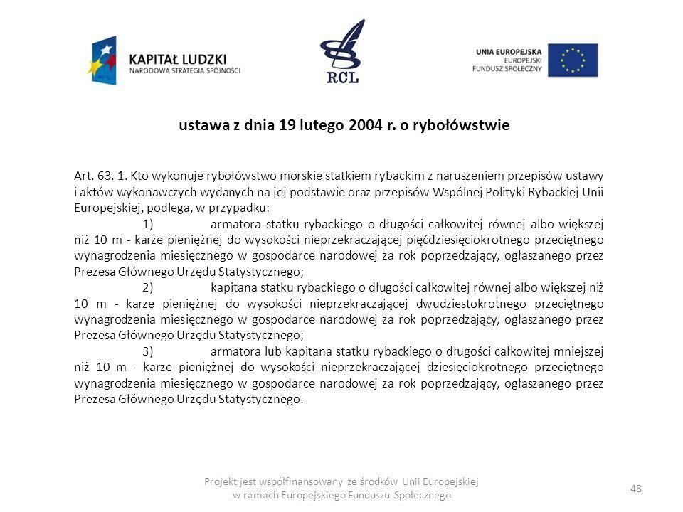 ustawa z dnia 19 lutego 2004 r. o rybołówstwie