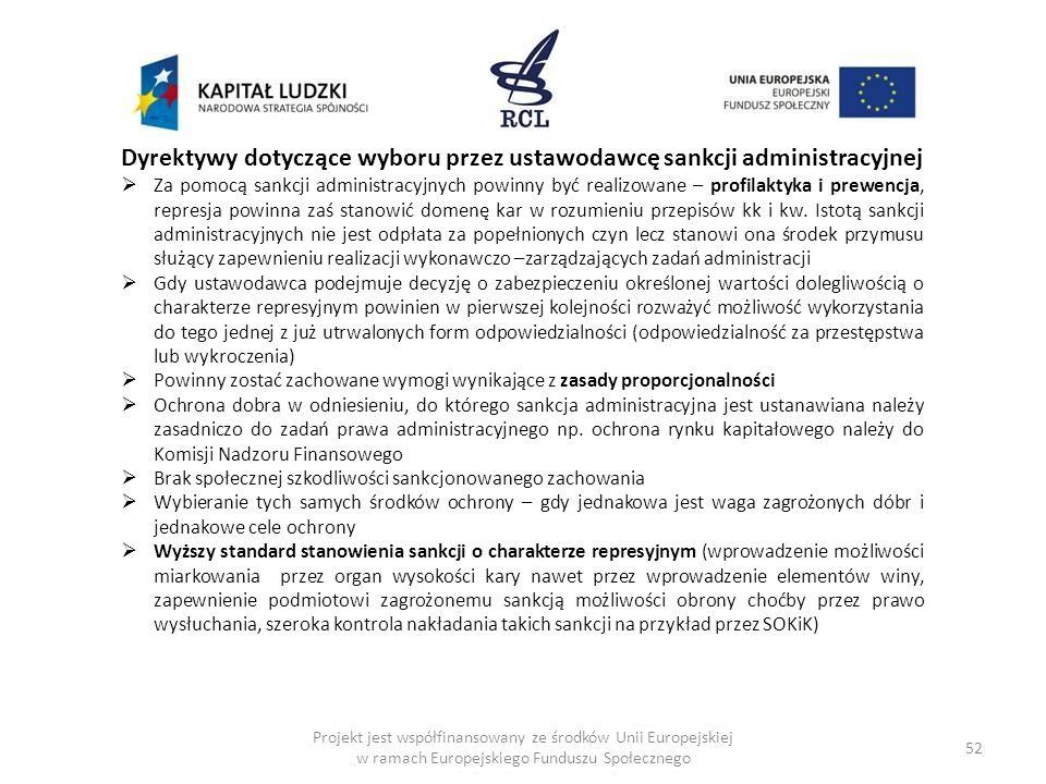 Dyrektywy dotyczące wyboru przez ustawodawcę sankcji administracyjnej