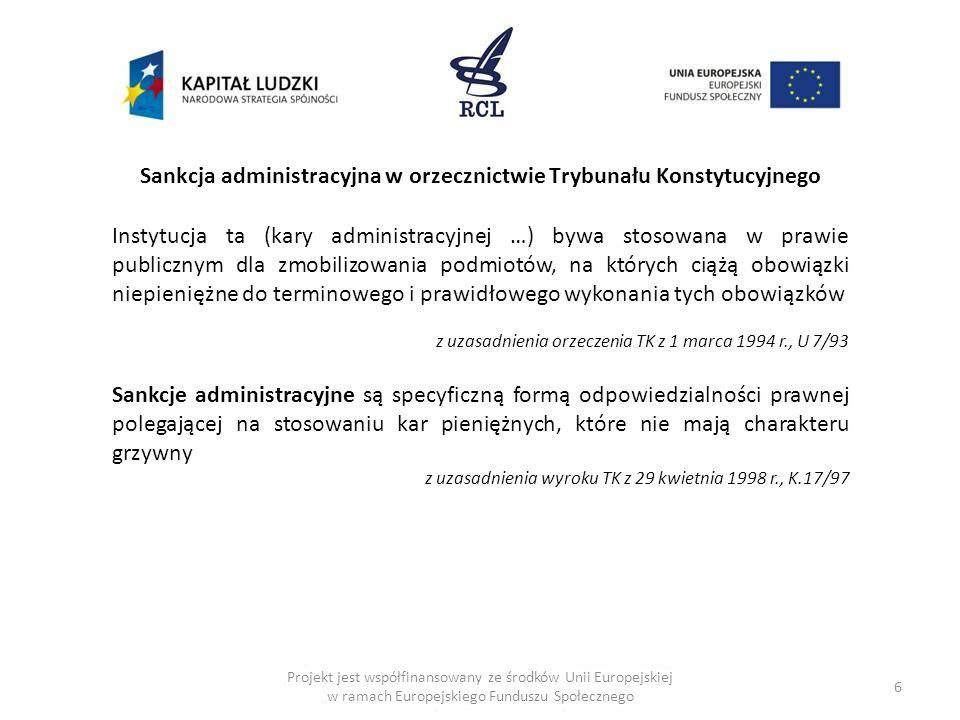 Sankcja administracyjna w orzecznictwie Trybunału Konstytucyjnego