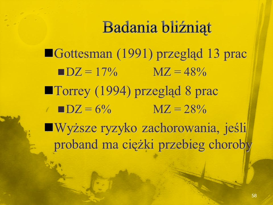 Badania bliźniąt Gottesman (1991) przegląd 13 prac