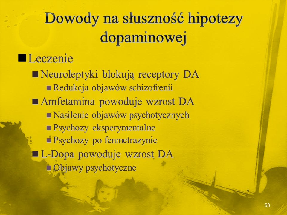 Dowody na słuszność hipotezy dopaminowej