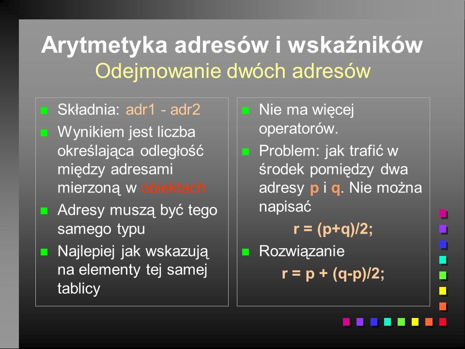 Arytmetyka adresów i wskaźników Odejmowanie dwóch adresów