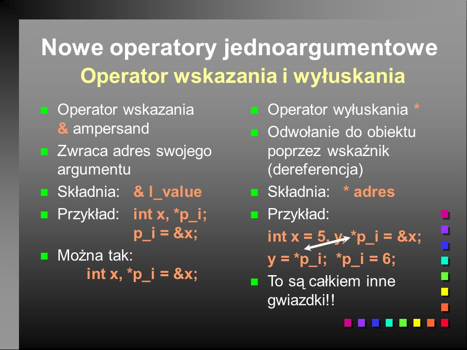 Nowe operatory jednoargumentowe Operator wskazania i wyłuskania