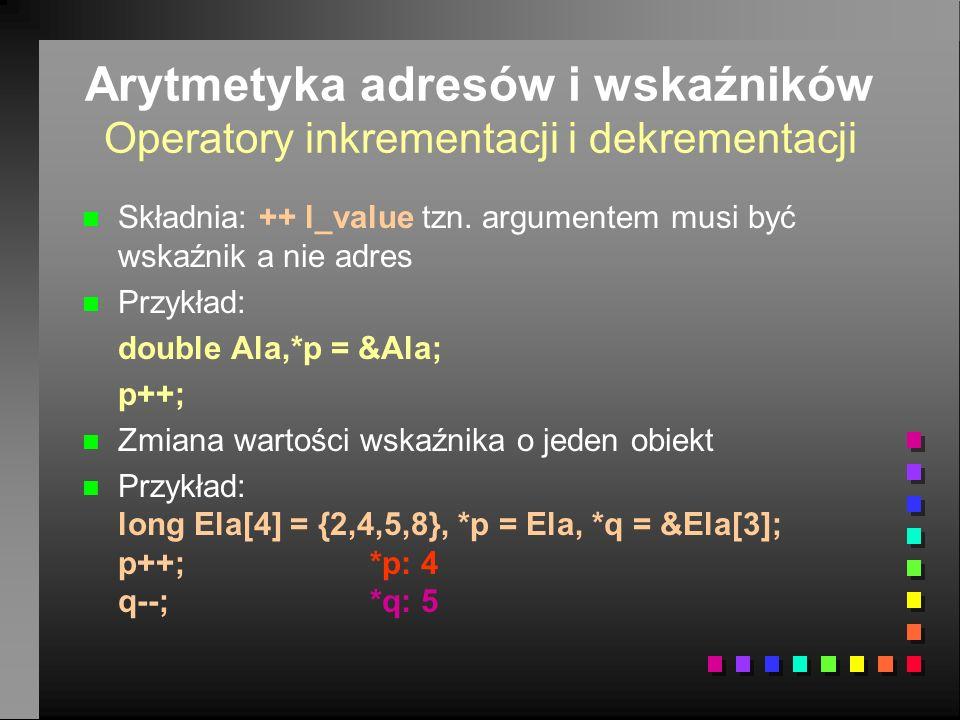 Arytmetyka adresów i wskaźników Operatory inkrementacji i dekrementacji