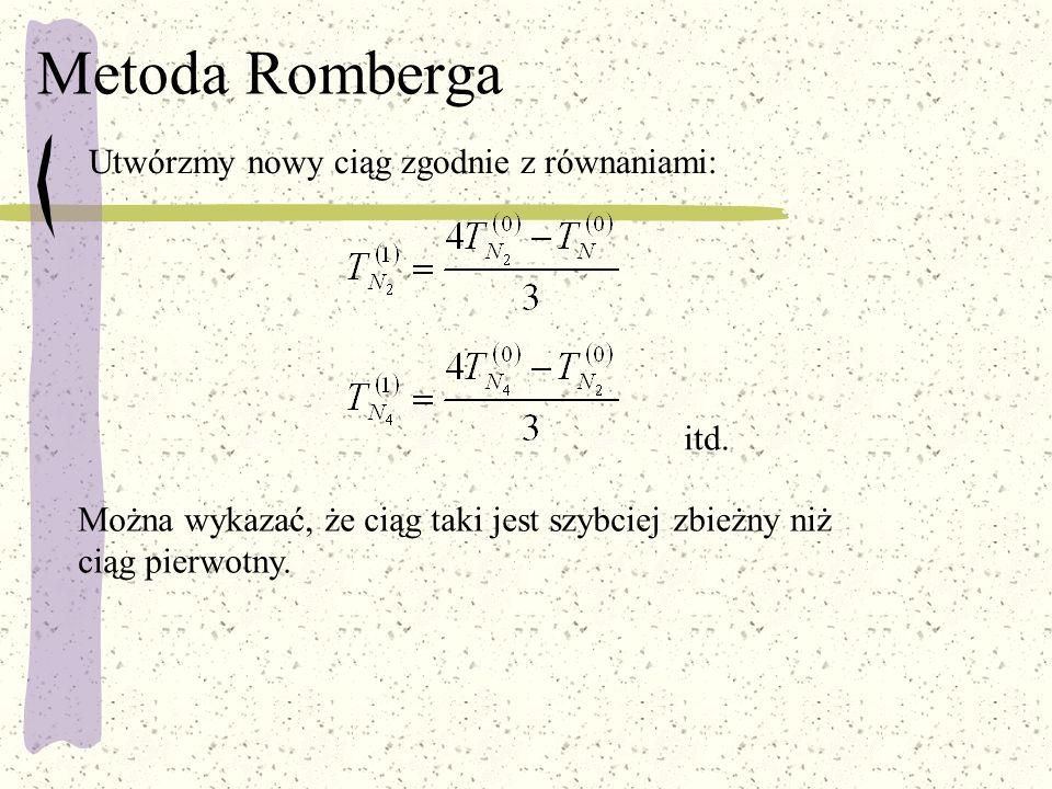 Metoda Romberga Utwórzmy nowy ciąg zgodnie z równaniami: itd.