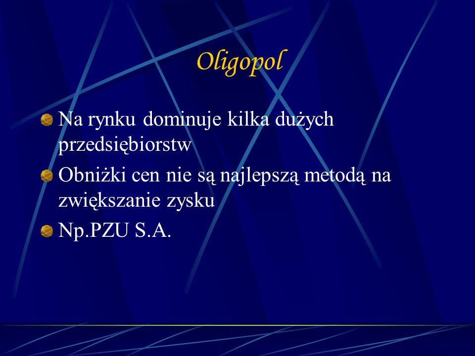 Oligopol Na rynku dominuje kilka dużych przedsiębiorstw