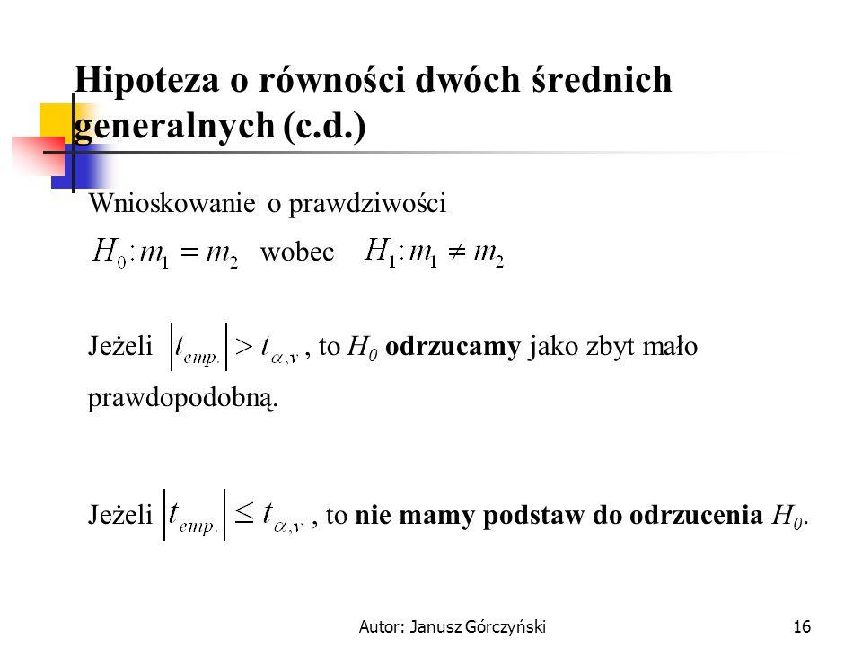 Hipoteza o równości dwóch średnich generalnych (c.d.)