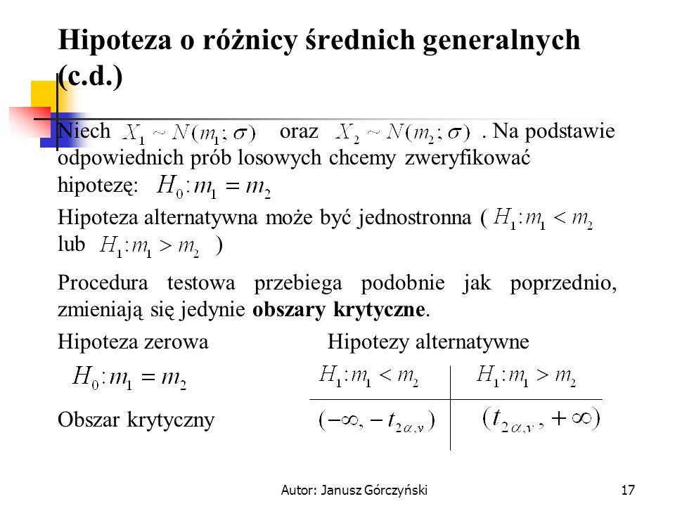 Hipoteza o różnicy średnich generalnych (c.d.)