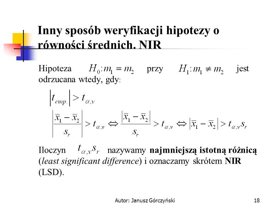 Inny sposób weryfikacji hipotezy o równości średnich. NIR