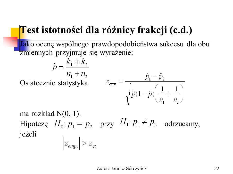 Test istotności dla różnicy frakcji (c.d.)