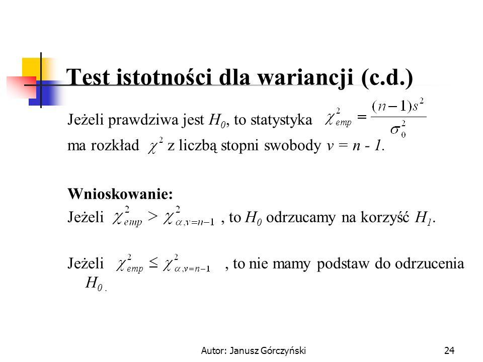 Test istotności dla wariancji (c.d.)