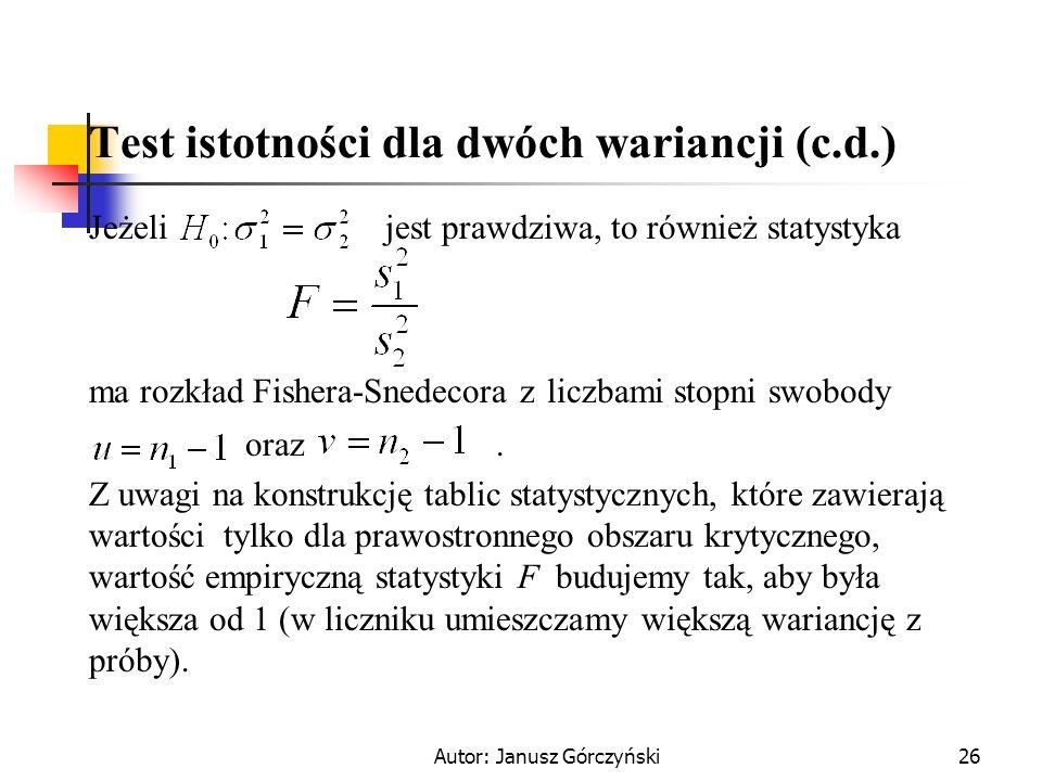 Test istotności dla dwóch wariancji (c.d.)
