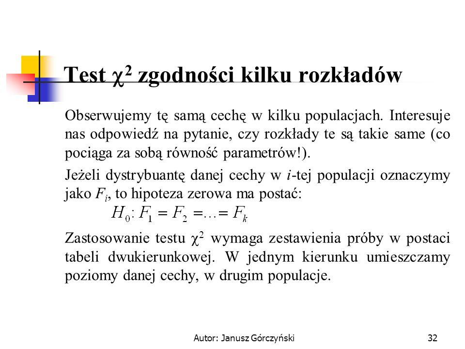 Test 2 zgodności kilku rozkładów