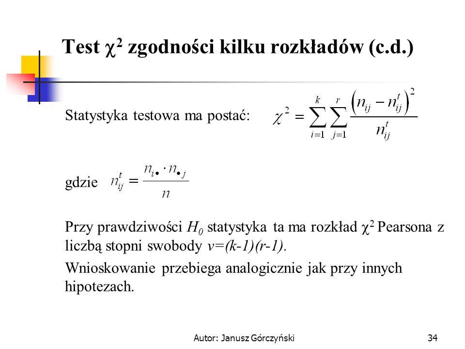 Test 2 zgodności kilku rozkładów (c.d.)