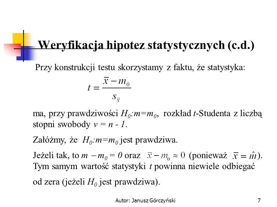 Weryfikacja hipotez statystycznych (c.d.)