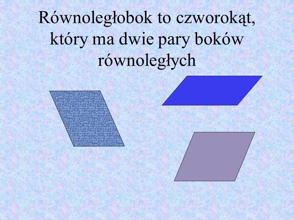 Równoległobok to czworokąt, który ma dwie pary boków równoległych