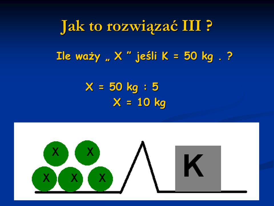 """Jak to rozwiązać III Ile waży """" X jeśli K = 50 kg ."""