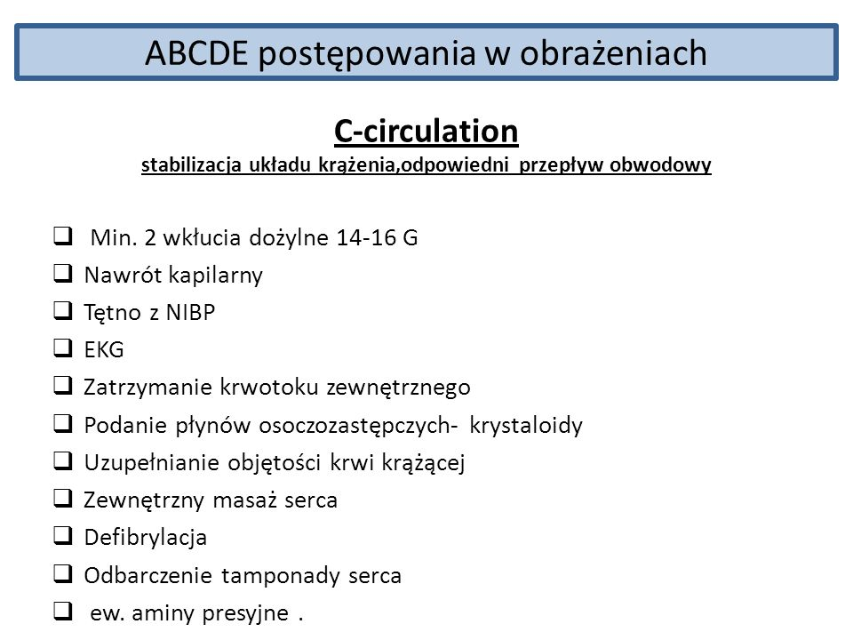 ABCDE postępowania w obrażeniach