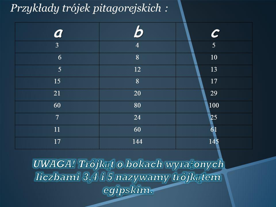 a b c Przykłady trójek pitagorejskich :