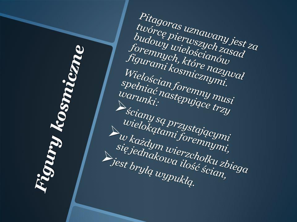 Pitagoras uznawany jest za twórcę pierwszych zasad budowy wielościanów foremnych, które nazywał figurami kosmicznymi.