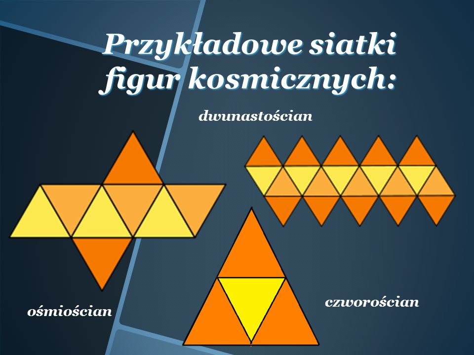 Przykładowe siatki figur kosmicznych: