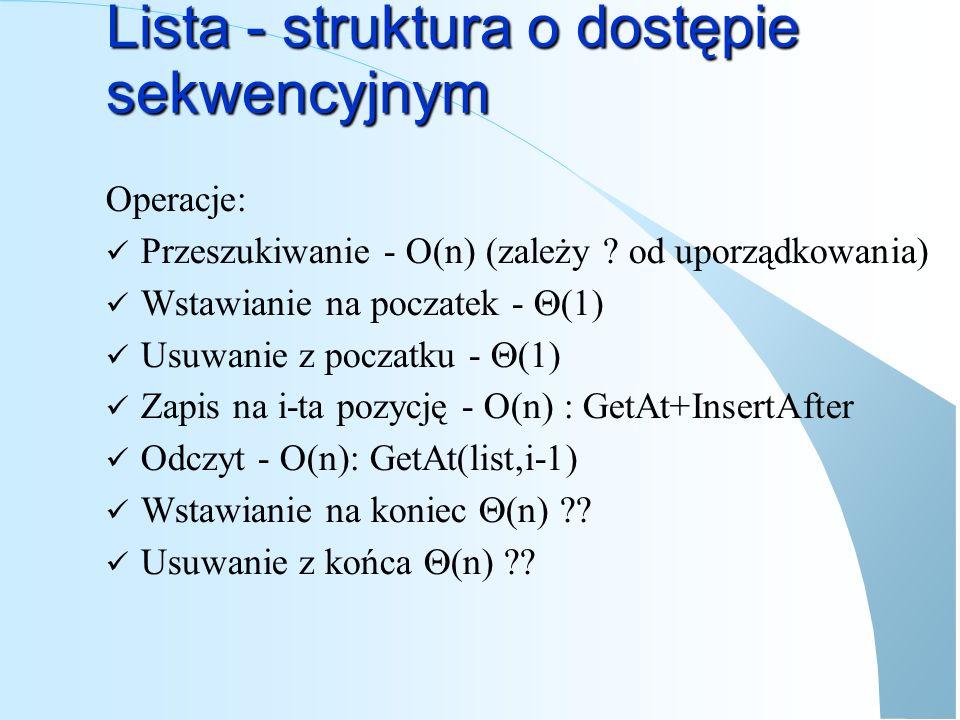 Lista - struktura o dostępie sekwencyjnym