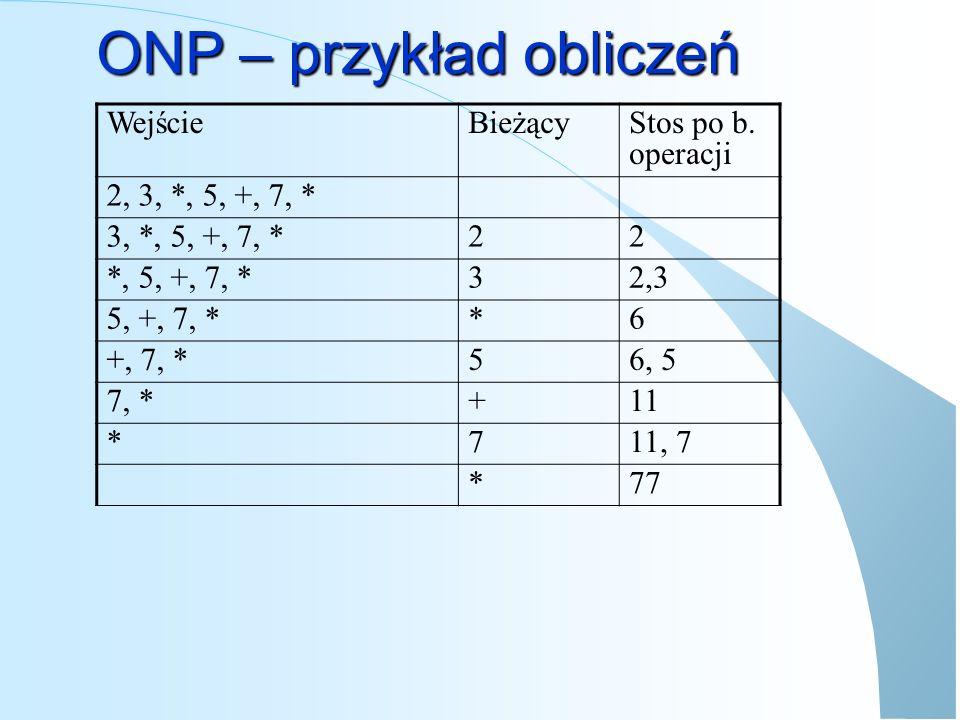 ONP – przykład obliczeń
