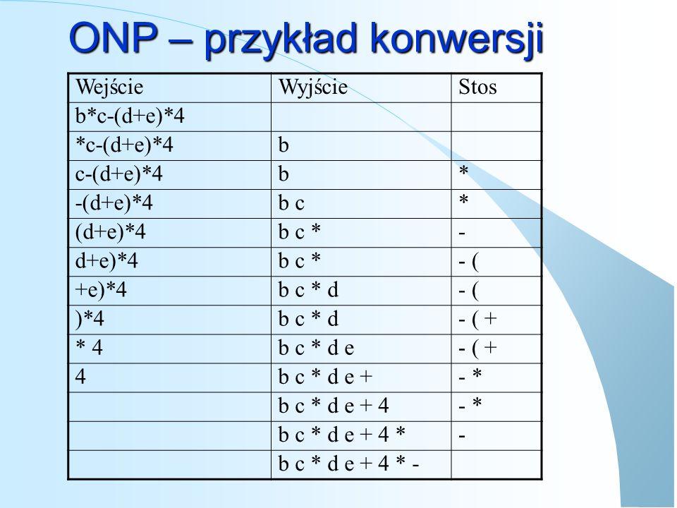 ONP – przykład konwersji