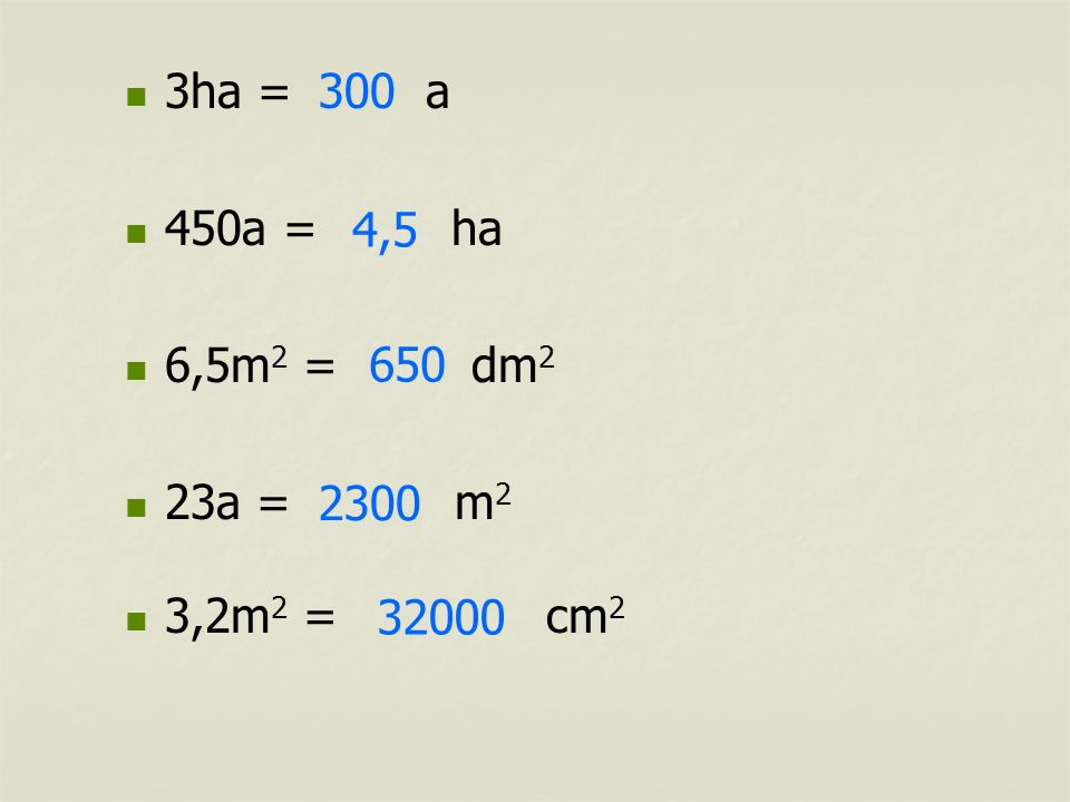 3ha = a 450a = ha. 6,5m2 = dm2. 23a = m2. 3,2m2 = cm2.