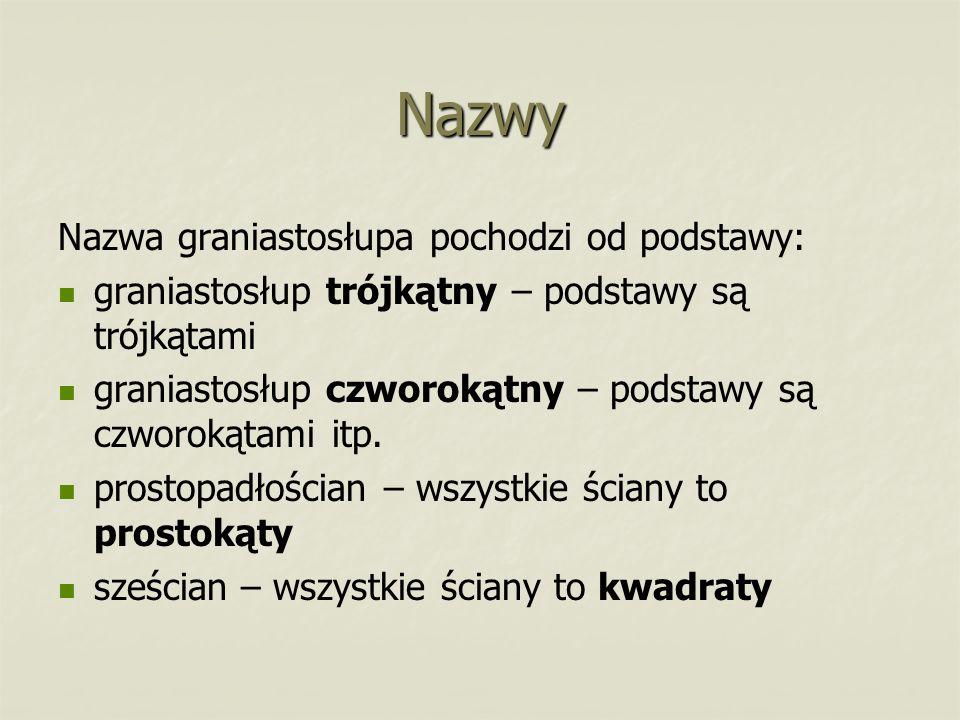 Nazwy Nazwa graniastosłupa pochodzi od podstawy:
