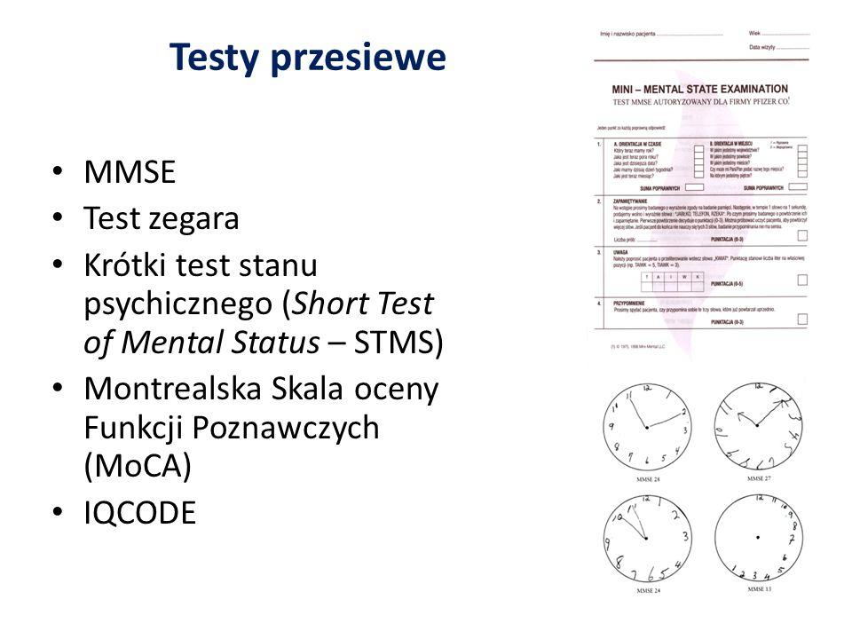 Testy przesiewe MMSE Test zegara