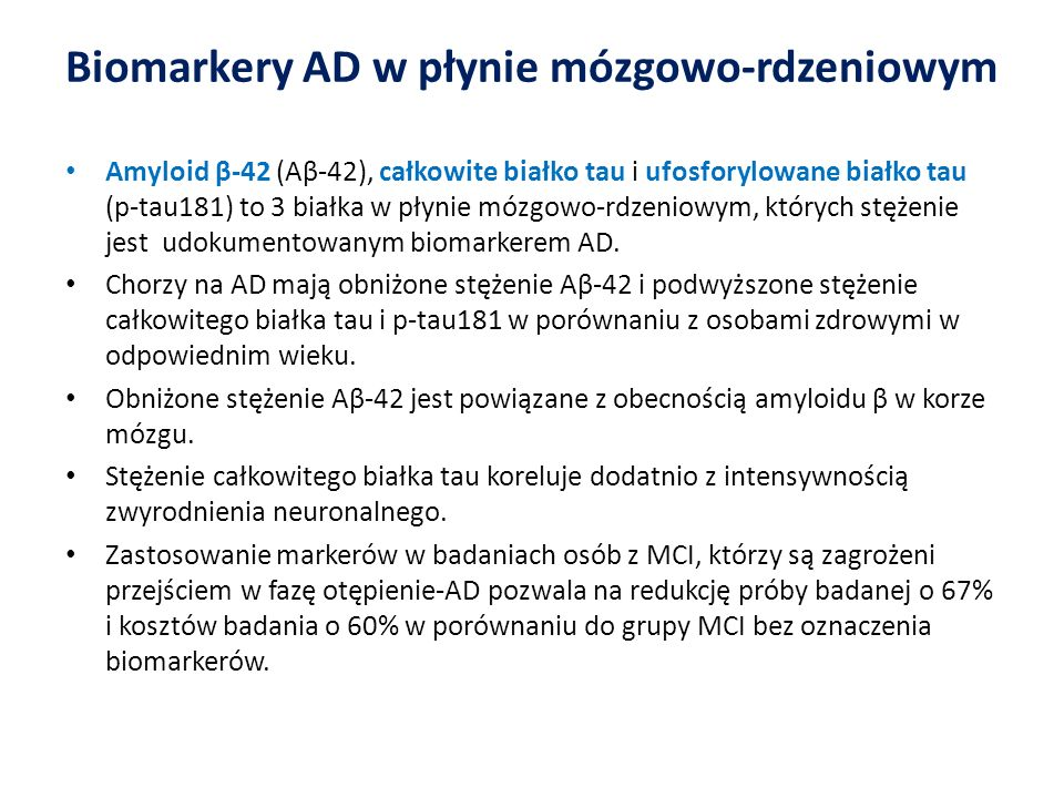 Biomarkery AD w płynie mózgowo-rdzeniowym