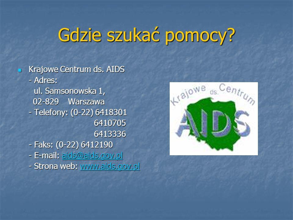 Gdzie szukać pomocy Krajowe Centrum ds. AIDS - Adres: