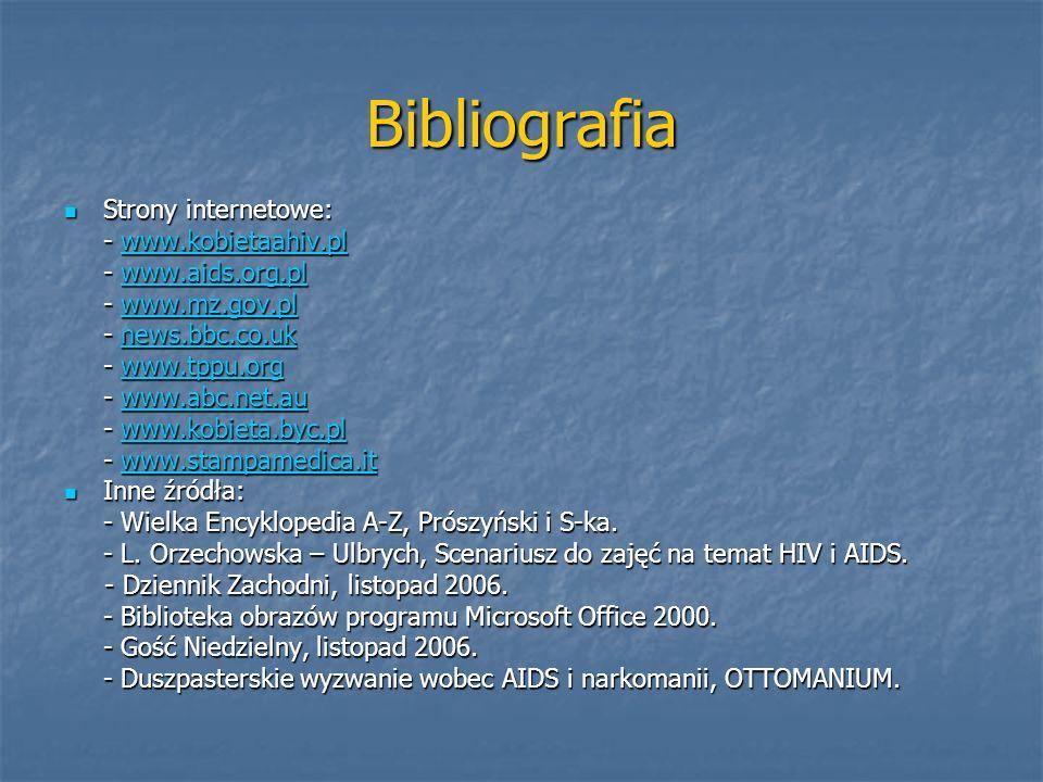 Bibliografia Strony internetowe: - www.kobietaahiv.pl