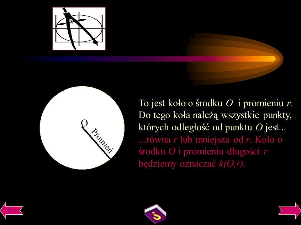 To jest koło o środku O i promieniu r