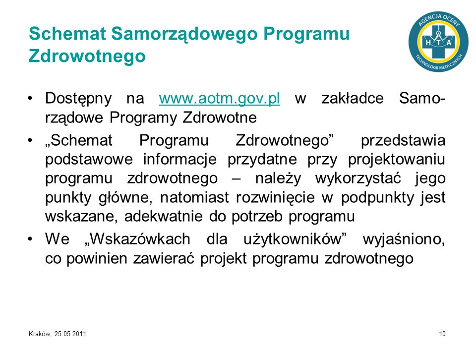 Schemat Samorządowego Programu Zdrowotnego