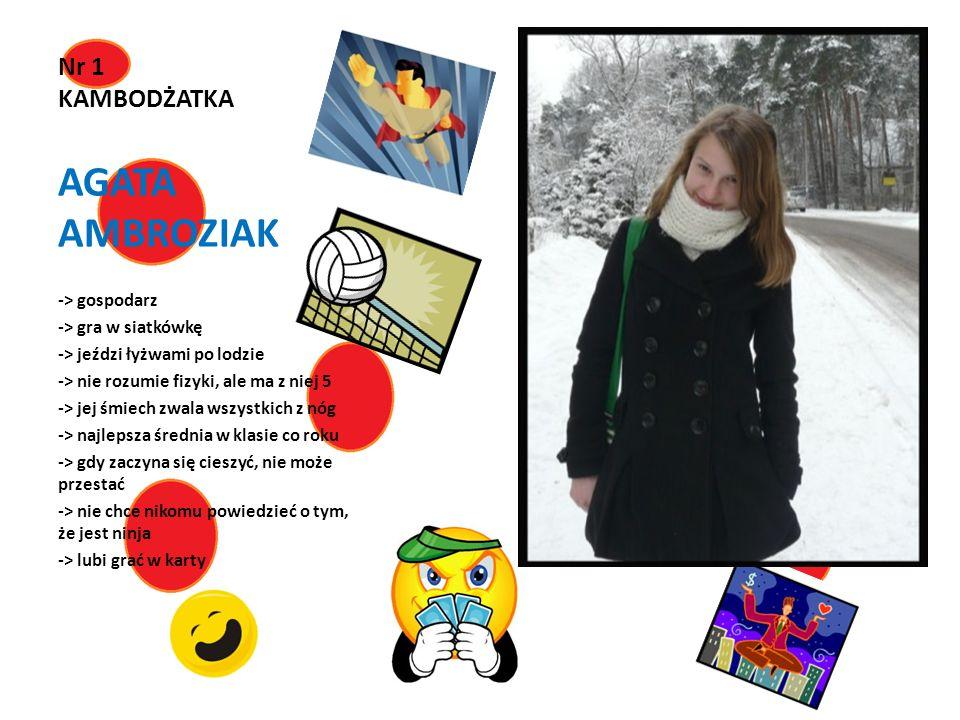 AGATA AMBROZIAK Nr 1 KAMBODŻATKA -> gospodarz -> gra w siatkówkę