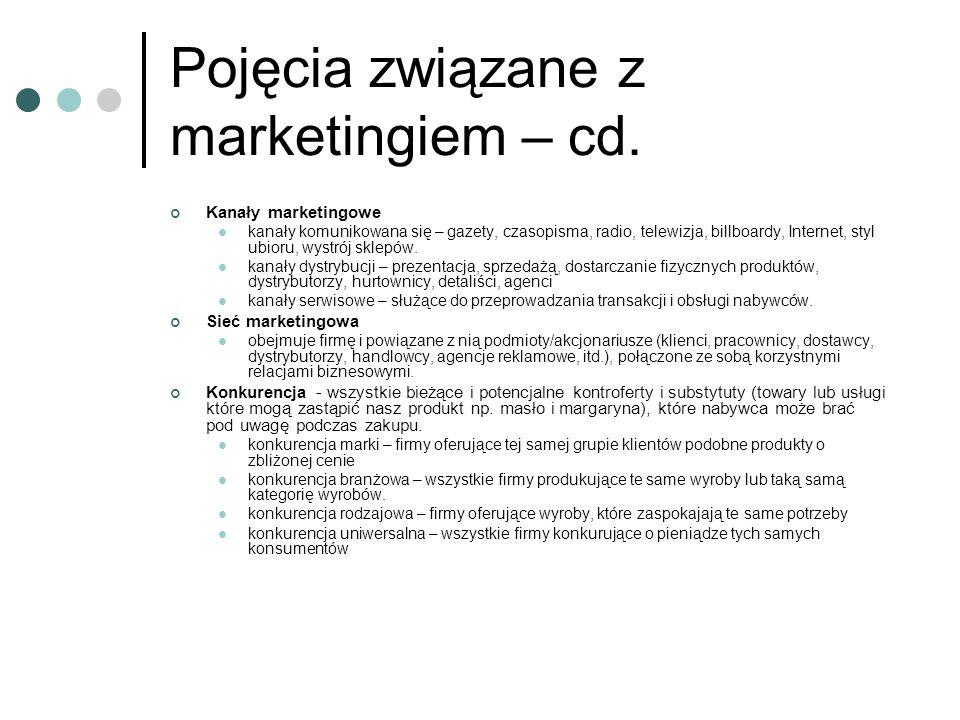 Pojęcia związane z marketingiem – cd.