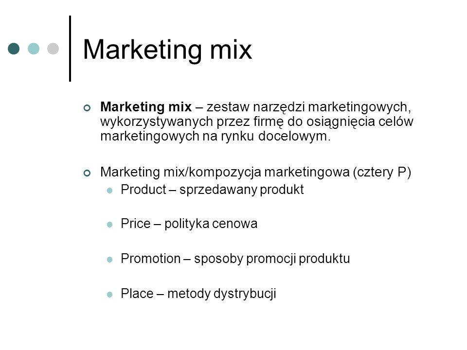 Marketing mix Marketing mix – zestaw narzędzi marketingowych, wykorzystywanych przez firmę do osiągnięcia celów marketingowych na rynku docelowym.