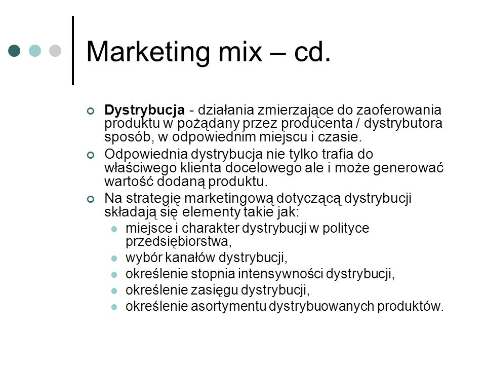 Marketing mix – cd.