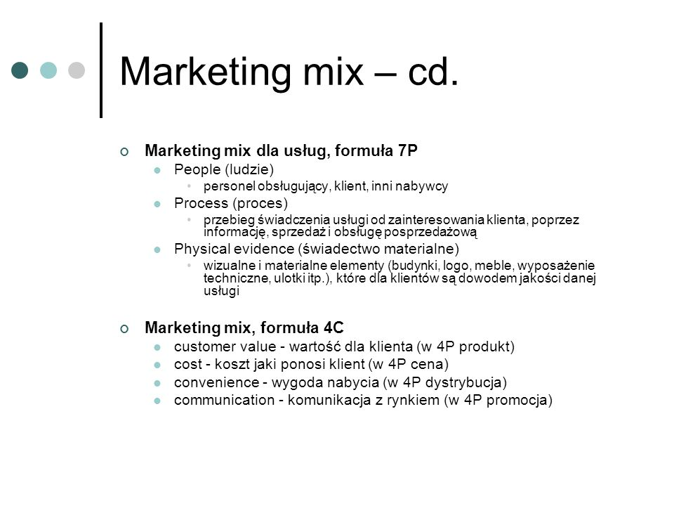 Marketing mix – cd. Marketing mix dla usług, formuła 7P