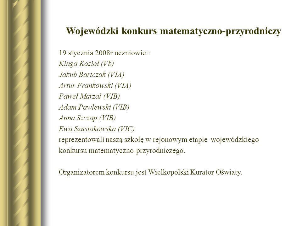 Wojewódzki konkurs matematyczno-przyrodniczy