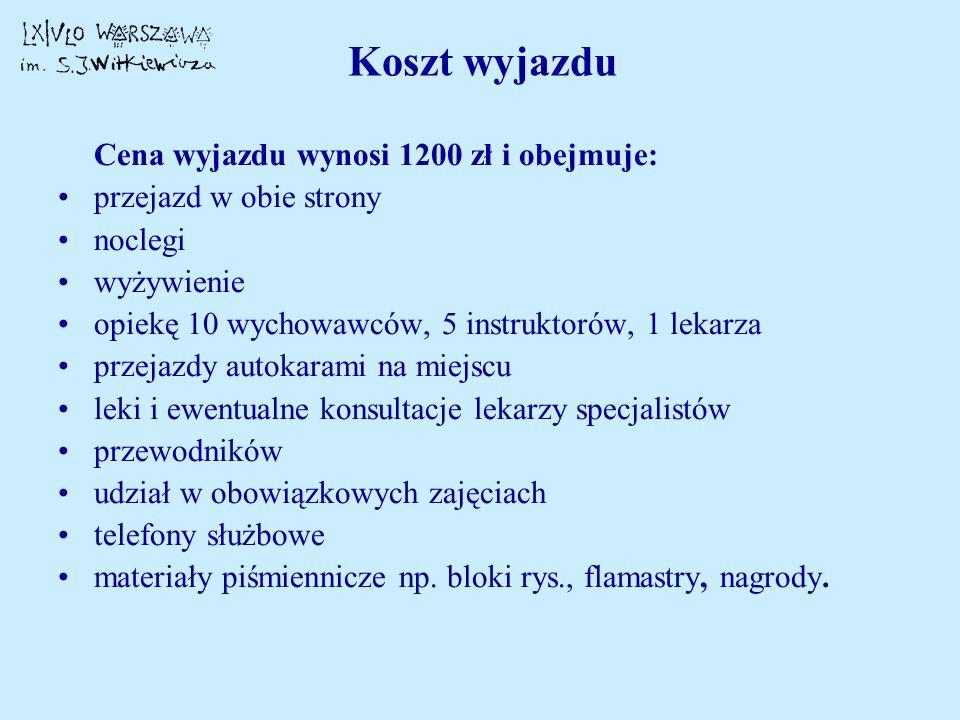 Koszt wyjazdu Cena wyjazdu wynosi 1200 zł i obejmuje: