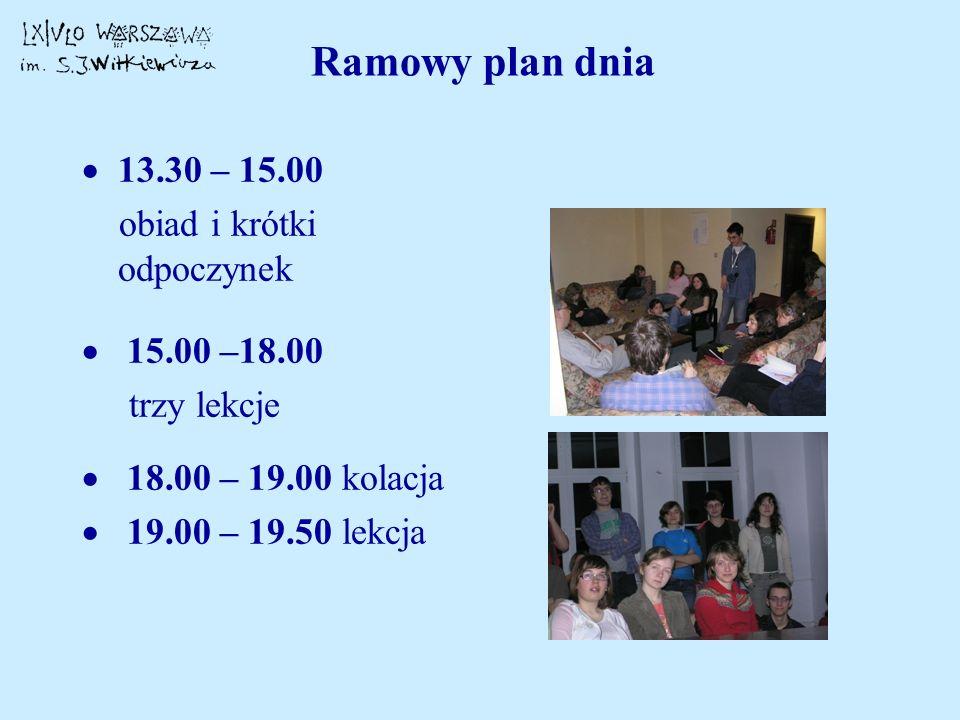 Ramowy plan dnia 13.30 – 15.00 obiad i krótki odpoczynek