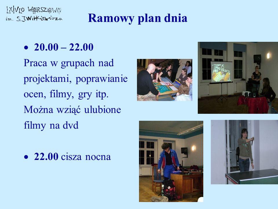 Ramowy plan dnia 20.00 – 22.00 Praca w grupach nad